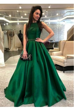 A-Line Beaded Long Prom Dresses Formal Evening Dresses 601139