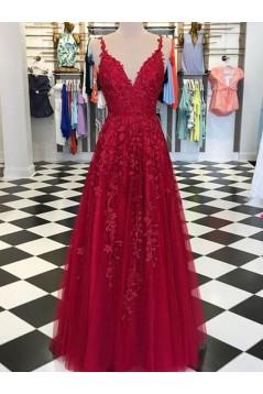 A-Line Lace Appliques V-Neck Long Prom Dresses Formal Evening Dresses 601142