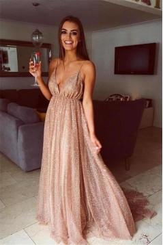 Sexy Sparkly V-Neck Long Prom Dresses Formal Evening Dresses 601147