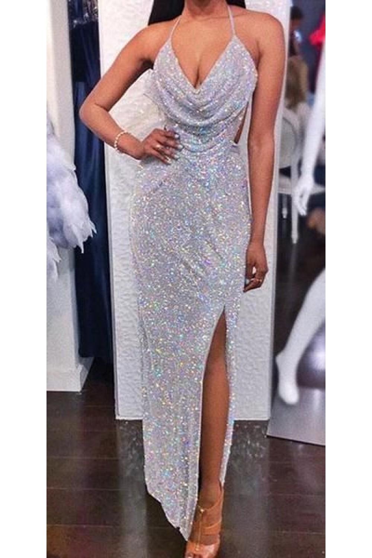 Sexy Sparkly V-Neck Long Prom Dresses