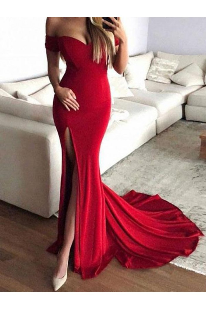 Sexy Mermaid Off-the-Shoulder Long Prom Dresses Formal Evening Dresses 601149