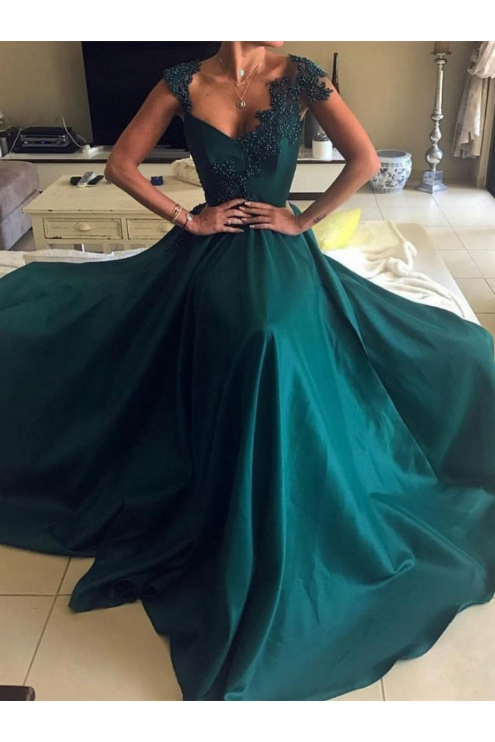 A-Line Long Prom Dresses with Lace Appliques and Beads Formal Evening Dresses 601150