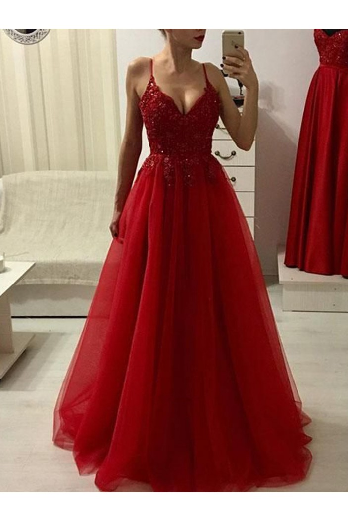 Long Red Spaghetti Strap V-Neck Prom Dresses Formal Evening Dresses 601151