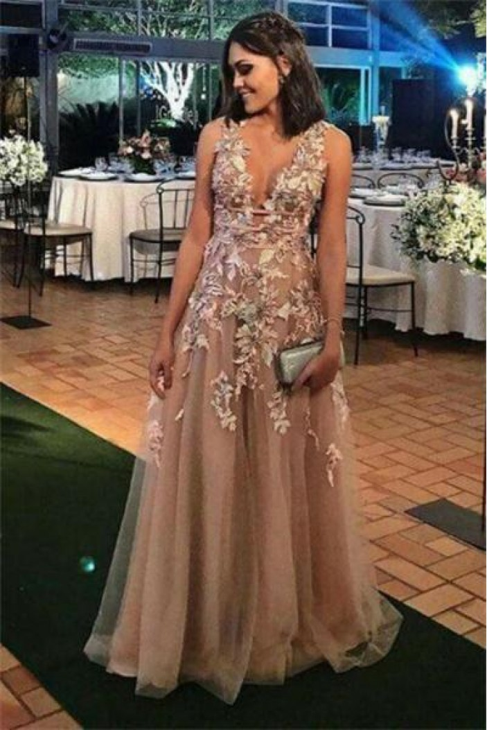 A-Line V-Neck Long Prom Dresses Formal Evening Dresses 601155