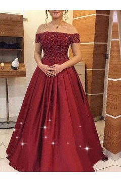 A-Line Off-the-Shoulder Beaded Lace Long Prom Dresses Formal Evening Dresses 601157