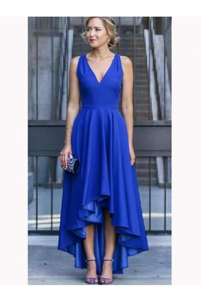 A-Line V-Neck High Low Prom Dresses Formal Evening Dresses 601159