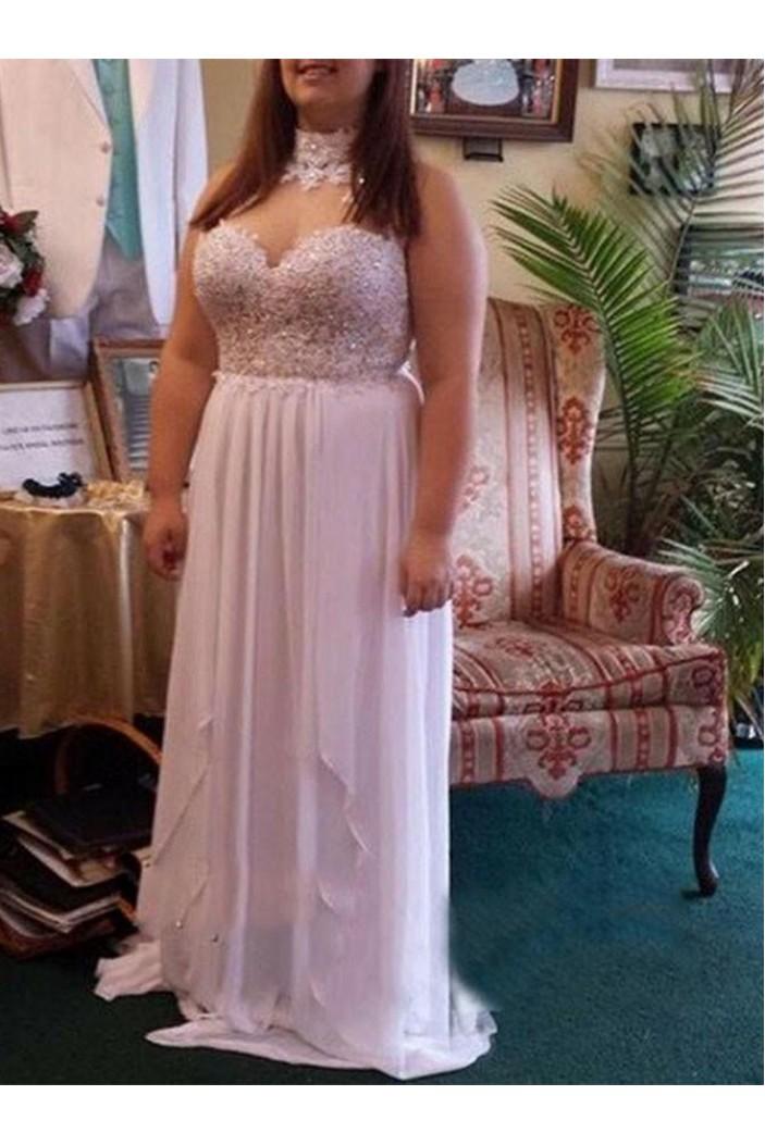 Long Chiffon Lace Appliques Plus Size Prom Dresses Formal Evening Dresses 601166