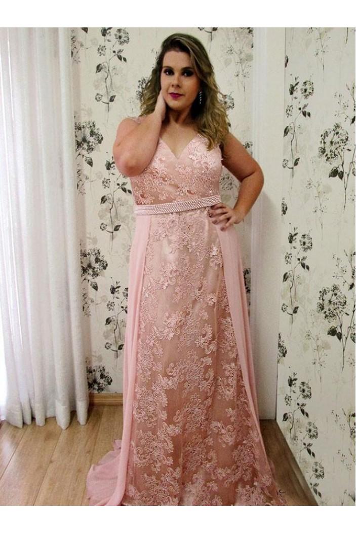 Long Beaded V-Neck Lace Chiffon Plus Size Prom Dresses Formal Evening Dresses 601168