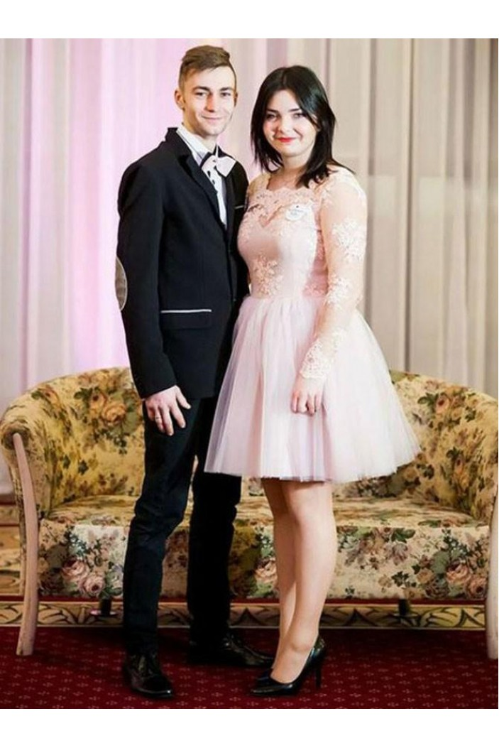 Long Sleeves Short Lace Plus Size Prom Dresses Formal Evening Dresses 601169