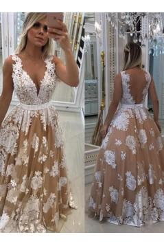 A-Line V-Neck Beaded Lace Long Prom Dresses Formal Evening Dresses 601170