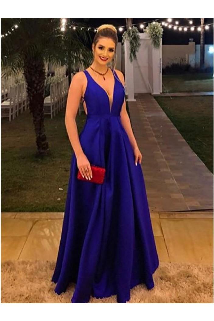 A-Line V-Neck Long Prom Dresses Formal Evening Dresses 601172