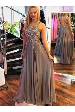 A-Line Beaded Chiffon Long Prom Dresses Formal Evening Dresses 601174