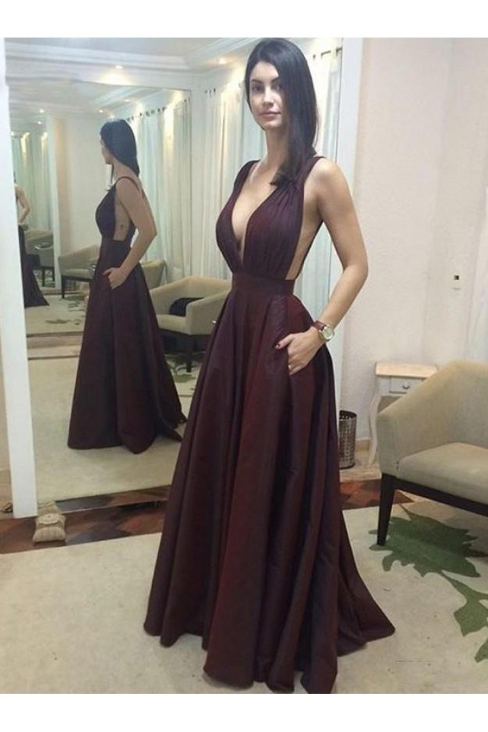 A-Line V-Neck Long Prom Dresses Formal Evening Dresses 601175