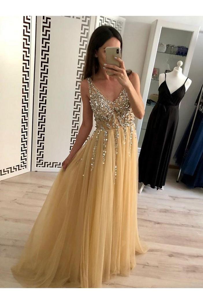 A-Line Beaded Tulle V-Neck Long Prom Dresses Formal Evening Dresses 601179