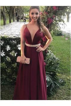 A-Line V-Neck Beaded Long Prom Dresses Formal Evening Dresses 601180