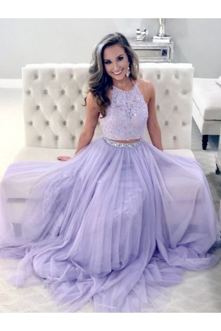 Beaded Lace Two Pieces Long Prom Dresses Formal Evening Dresses 601183