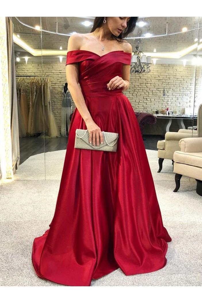 A-Line Off-the-Shoulder Long Prom Dresses Formal Evening Dresses 601186