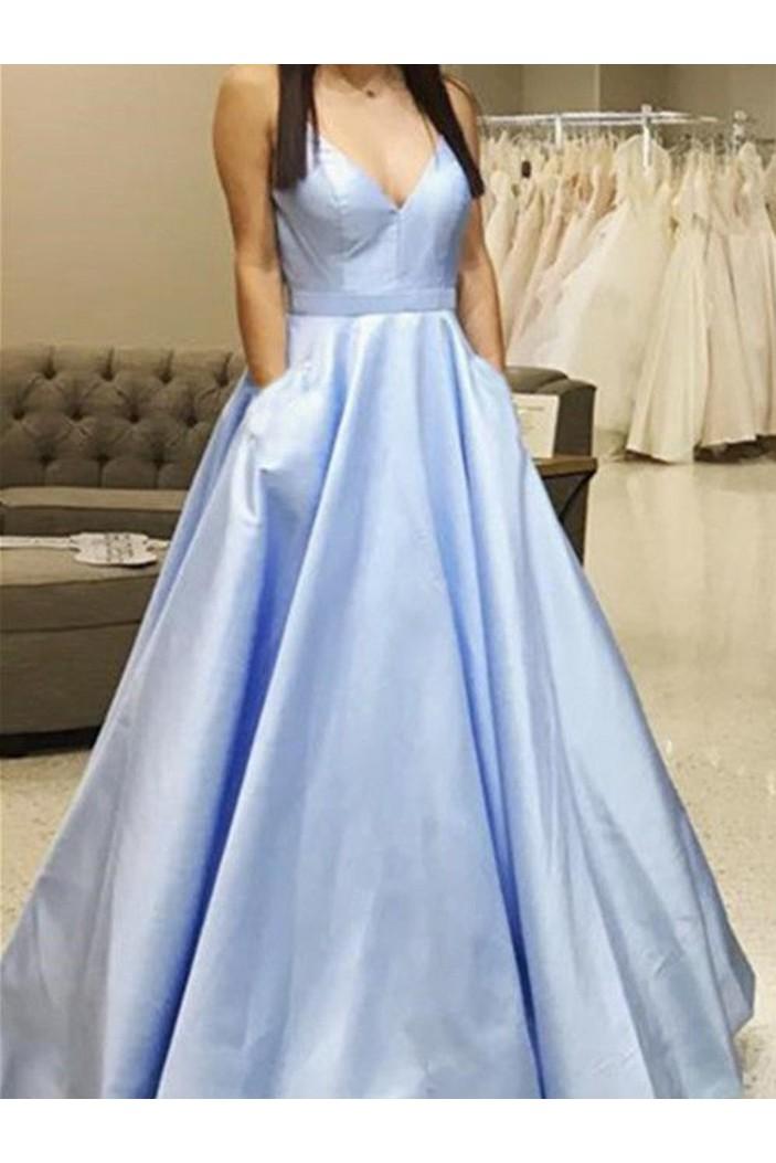 A-Line V-Neck Long Prom Dresses Formal Evening Dresses 601191