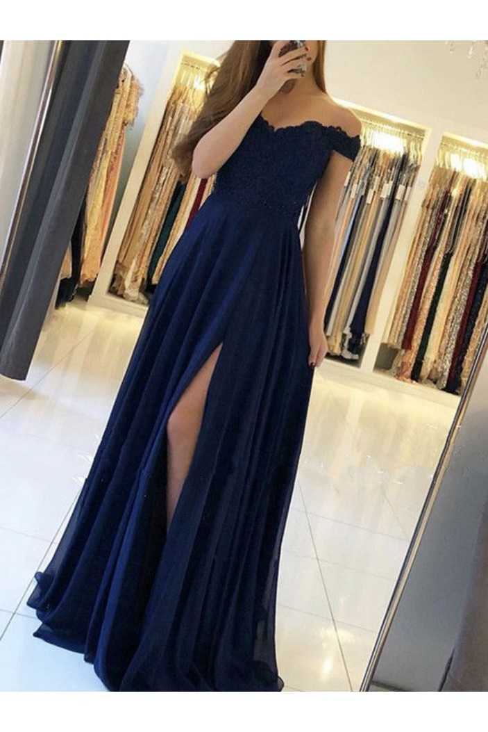 Chiffon Lace Off-the-Shoulder Long Prom Dresses Formal Evening Dresses 601192