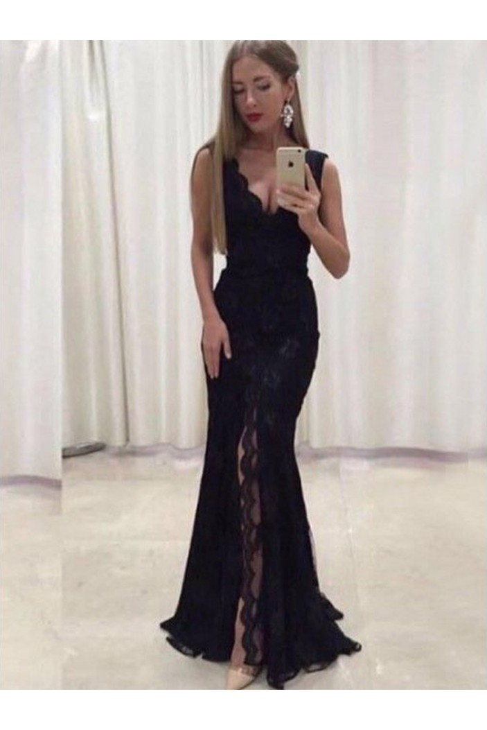Sexy V-Neck Lace Chiffon Long Prom Dresses Formal Evening Dresses 601195