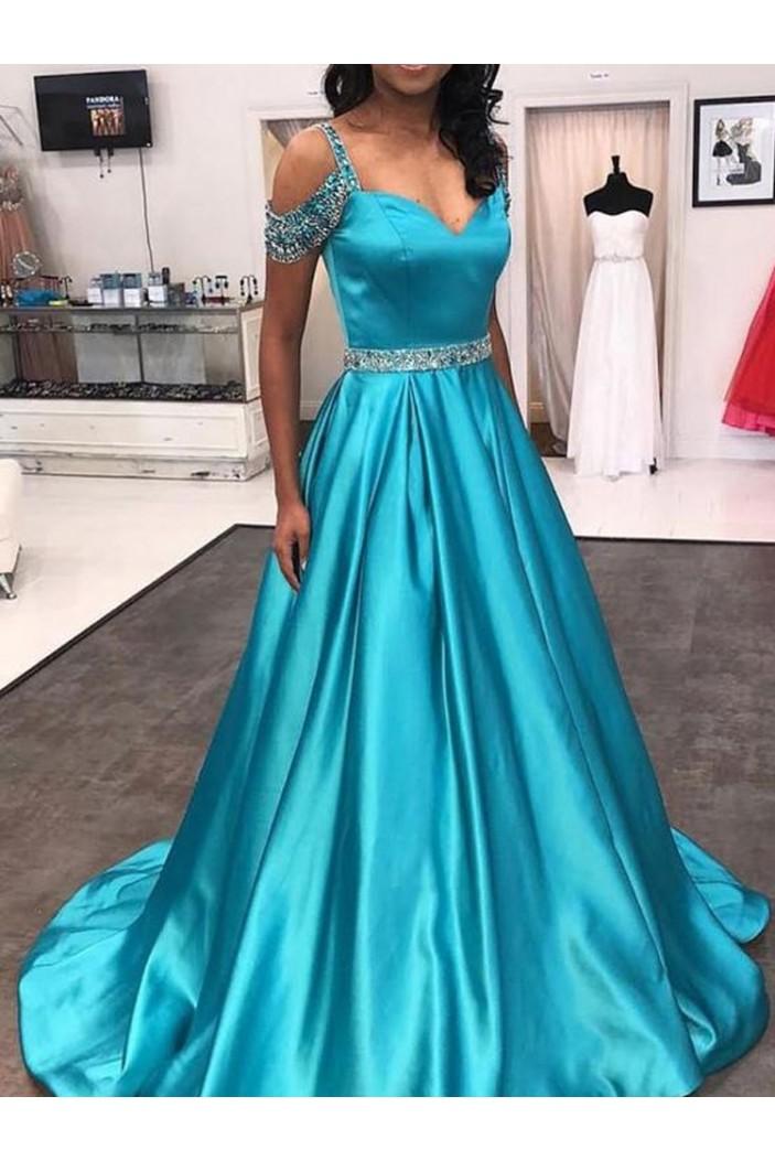 A-Line Beaded Long Prom Dresses Formal Evening Dresses 601197