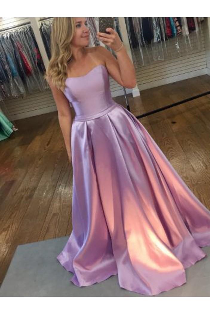 A-Line Strapless Long Prom Dresses Formal Evening Dresses 601200
