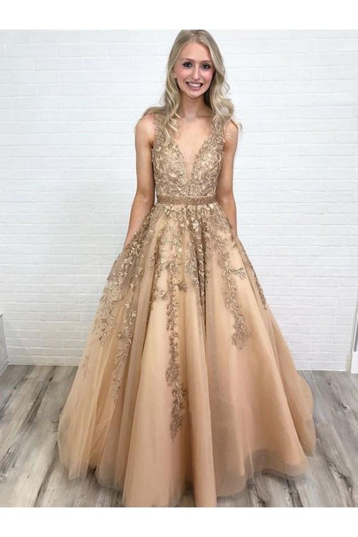 A-Line V-Neck Beaded Lace Long Prom Dresses Formal Evening Dresses 601202