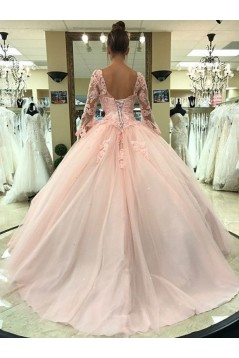 Ball Gown Long Sleeves Lace Long Prom Dresses Formal Evening Dresses 601203