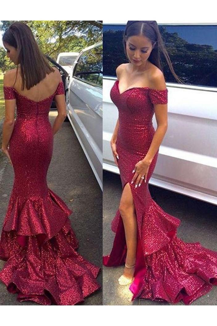 Mermaid Off-the-Shoulder Sequins Long Prom Dresses Formal Evening Dresses 601204