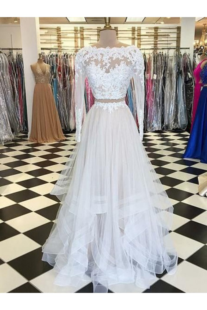 Two Pieces Long Sleeves Lace Long Prom Dresses Formal Evening Dresses 601205