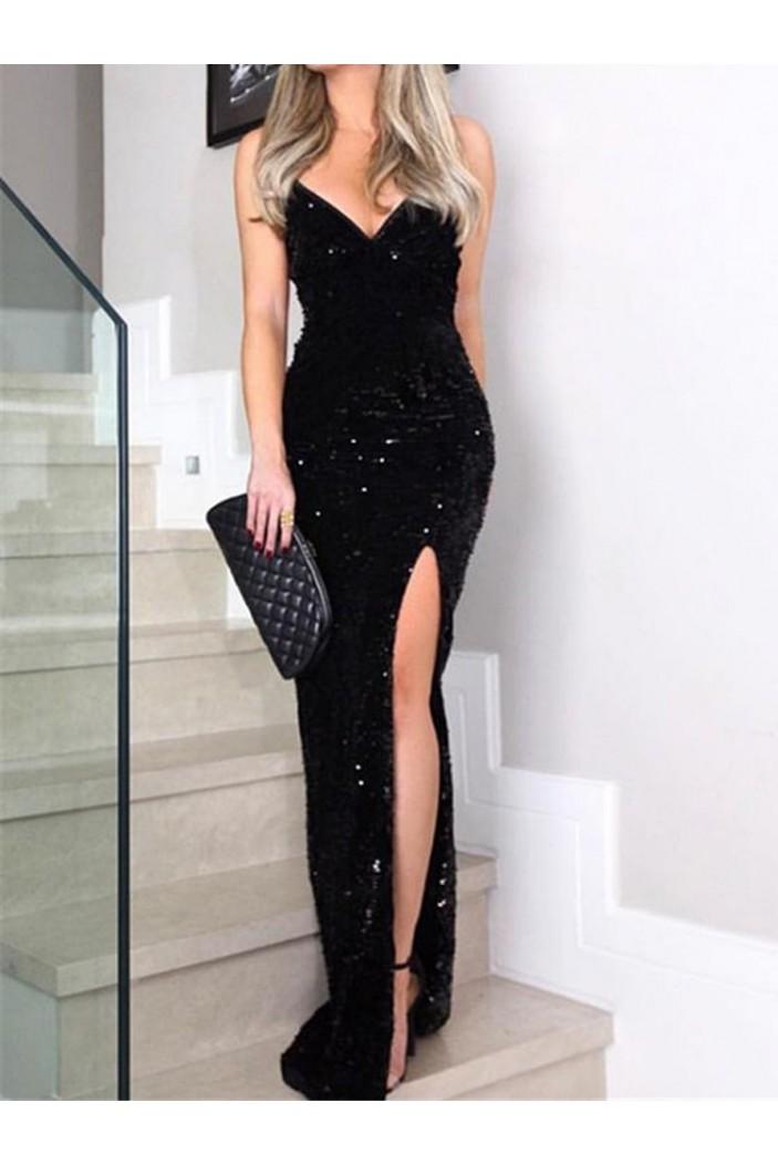 Sexy Sleeveless Spaghetti Straps Black Sequins Long Prom Dresses Formal Evening Dresses 601207