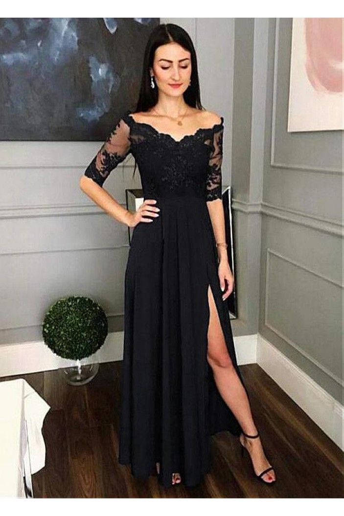 Lace and Chiffon V-Neck Long Mother of the Bride Dresses Formal Evening Dresses 601210