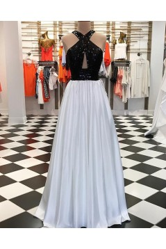 A-Line Beaded Black White Long Prom Dresses Formal Evening Dresses 601214