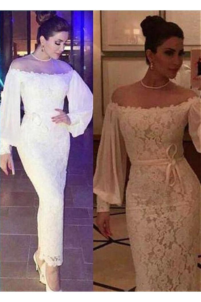Memraid Lace Long Sleeves Long Prom Dresses Formal Evening Dresses 601217
