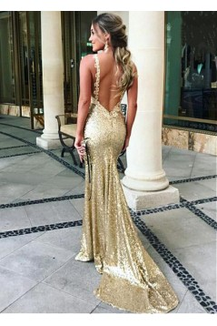 Sexy Mermaid Sequins Long Prom Dresses Formal Evening Dresses 601219