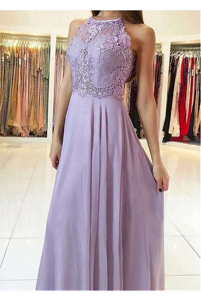 A-Line Lace Chiffon Long Prom Dresses Formal Evening Dresses 601220