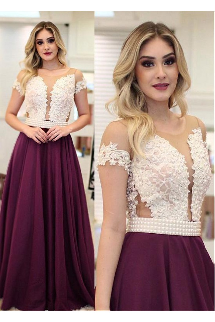 A-Line Beaded Lace Long Prom Dresses Formal Evening Dresses 601222