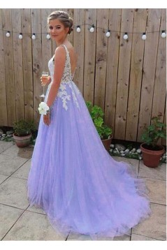 A-Line V-Neck Lace Tulle Long Prom Dresses Formal Evening Dresses 601223