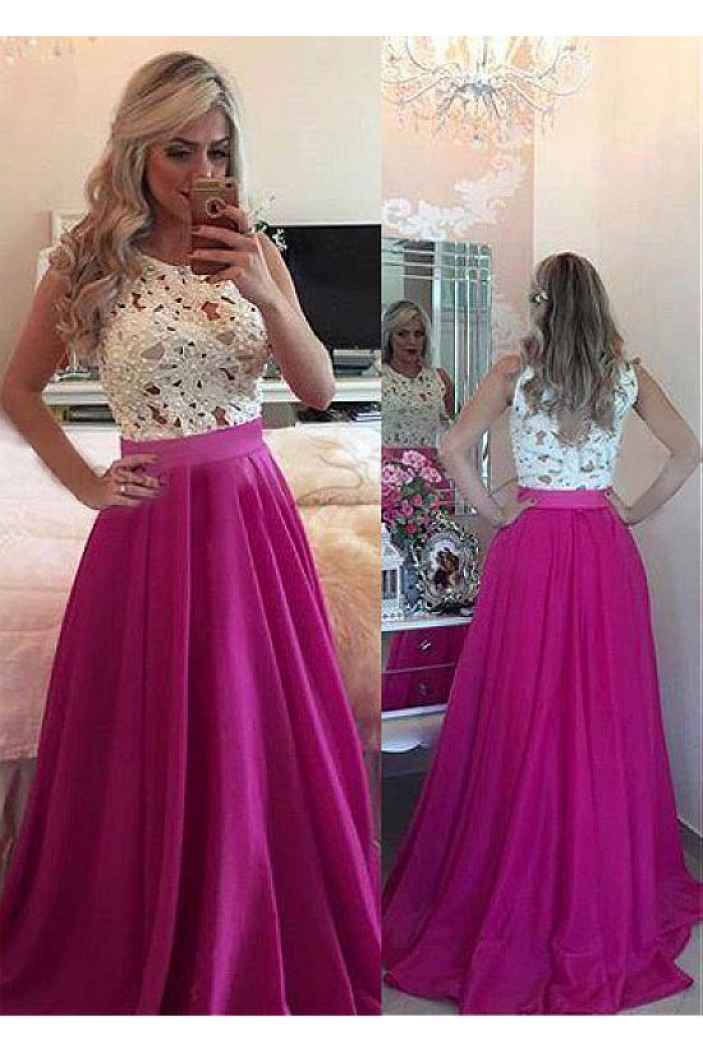 A-Line Beaded Lace Long Prom Dresses Formal Evening Dresses 601224