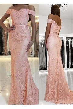 Mermaid Off-the-Shoulder Beaded Lace Long Prom Dresses Formal Evening Dresses 601225