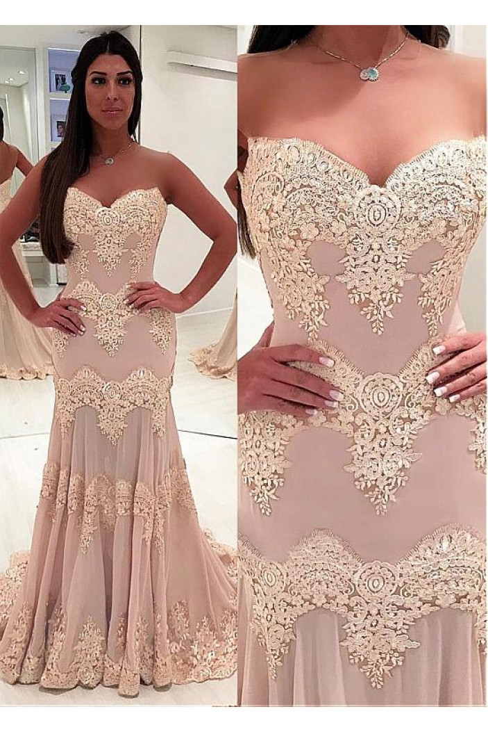 Mermaid Sweetheart Lace Long Prom Dresses Formal Evening Dresses 601226