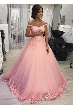 Ball Gown Off-the-Shoulder Lace Long Prom Dresses Formal Evening Dresses 601227