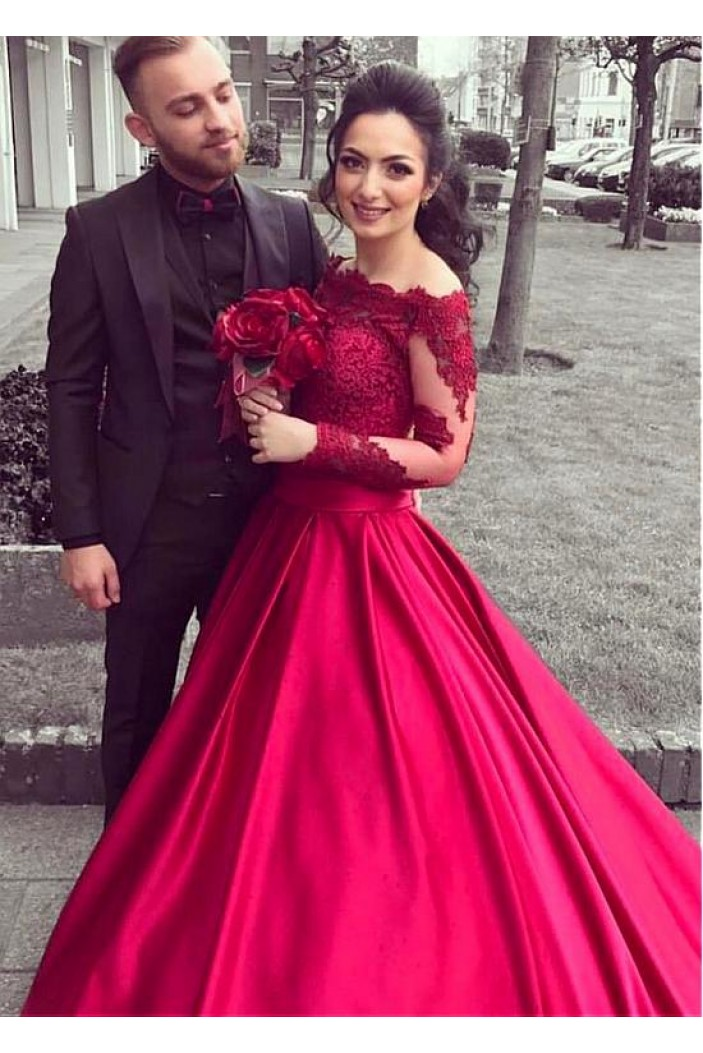 Ball Gown Off-the-Shoulder Lace Long Sleeves Prom Dresses Formal Evening Dresses 601228