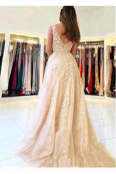 A-Line V-Neck Lace Long Prom Dresses Formal Evening Dresses 601229