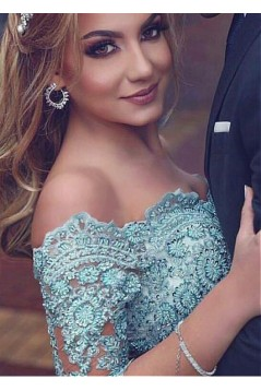 Beaded Lace Chiffon Off-the-Shoulder Long Prom Dresses Formal Evening Dresses 601231