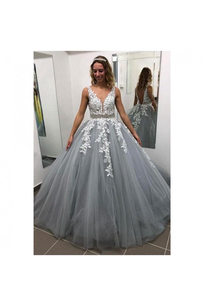 A-Line V-Neck Lace Tulle Long Prom Dresses Formal Evening Dresses 601233