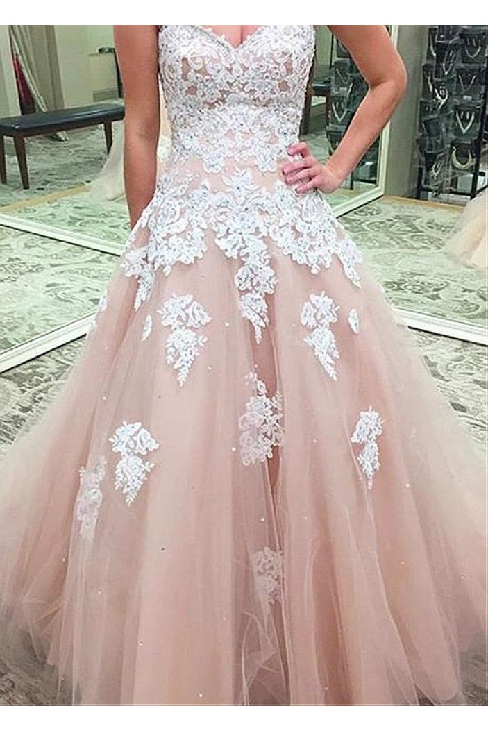A-Line Sweetheart Lace Tulle Long Prom Dresses Formal Evening Dresses 601234