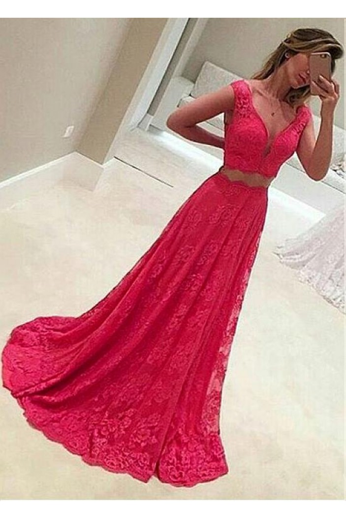 A-Line V-Neck Two Pieces Lace Long Prom Dresses Formal Evening Dresses 601235