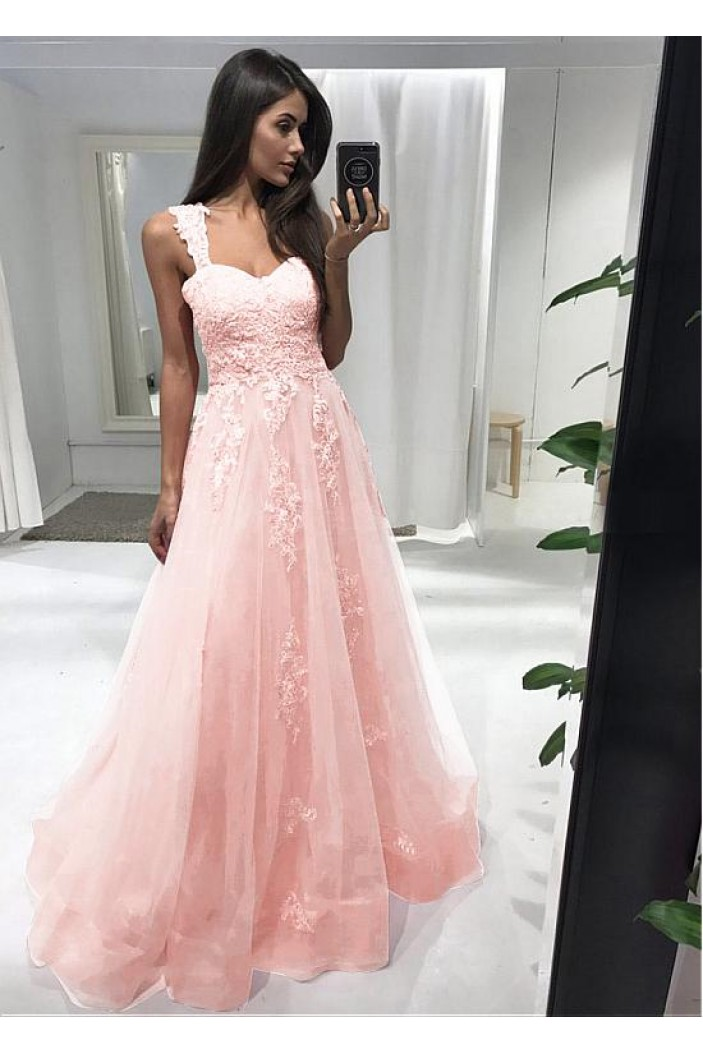 A-Line Lace Long Prom Dresses Formal Evening Dresses 601236
