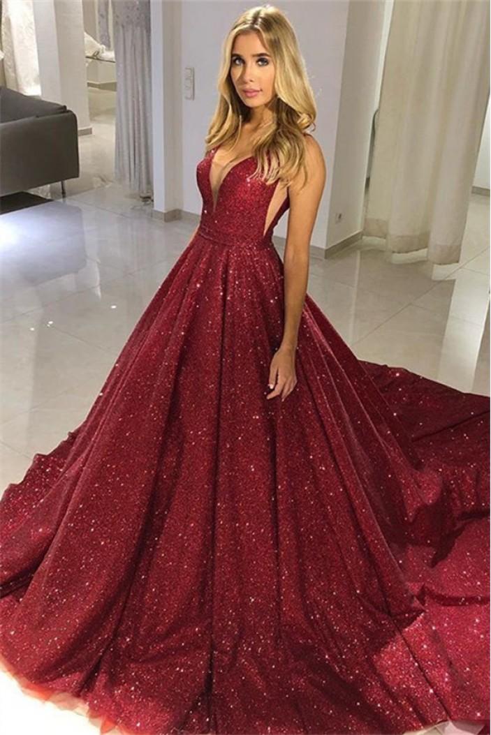Sequins V-Neck Long Prom Dresses Formal Evening Dresses 601237